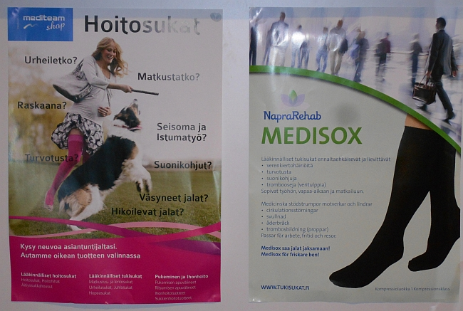 Fysioterapiassa jalkoja mittauttamassa